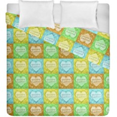 Colorful Happy Easter Theme Pattern Duvet Cover Double Side (king Size) by dflcprints