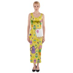 Cute Easter Pattern Fitted Maxi Dress by Valentinaart