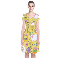 Cute Easter Pattern Short Sleeve Front Wrap Dress by Valentinaart