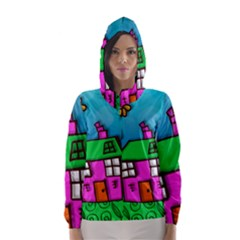 Cartoon Grunge Cat Wallpaper Background Hooded Wind Breaker (women)