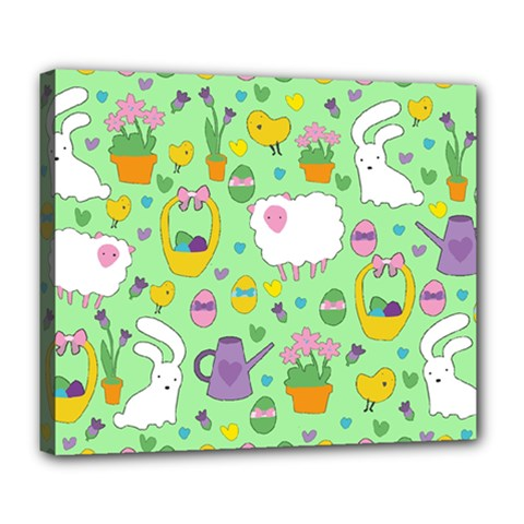 Cute Easter Pattern Deluxe Canvas 24  X 20