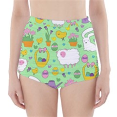 Cute Easter Pattern High Waisted Bikini Bottoms by Valentinaart