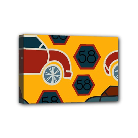 Husbands Cars Autos Pattern On A Yellow Background Mini Canvas 6  X 4  by Nexatart