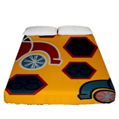 Husbands Cars Autos Pattern On A Yellow Background Fitted Sheet (queen Size) by Nexatart