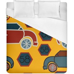 Husbands Cars Autos Pattern On A Yellow Background Duvet Cover (california King Size)