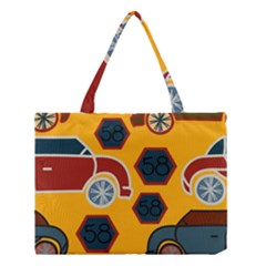 Husbands Cars Autos Pattern On A Yellow Background Medium Tote Bag by Nexatart