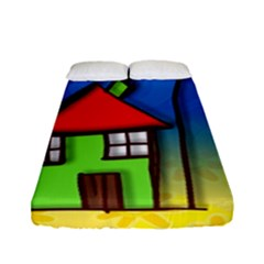 Colorful Illustration Of A Doodle House Fitted Sheet (full/ Double Size)