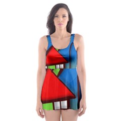 Colorful Illustration Of A Doodle House Skater Dress Swimsuit