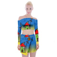 Colorful Illustration Of A Doodle House Off Shoulder Top With Skirt Set by Nexatart