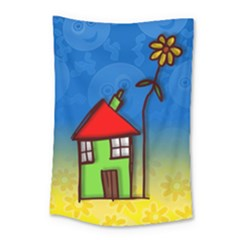 Colorful Illustration Of A Doodle House Small Tapestry by Nexatart