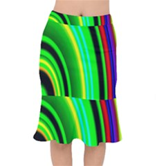 Multi Colorful Radiant Background Mermaid Skirt