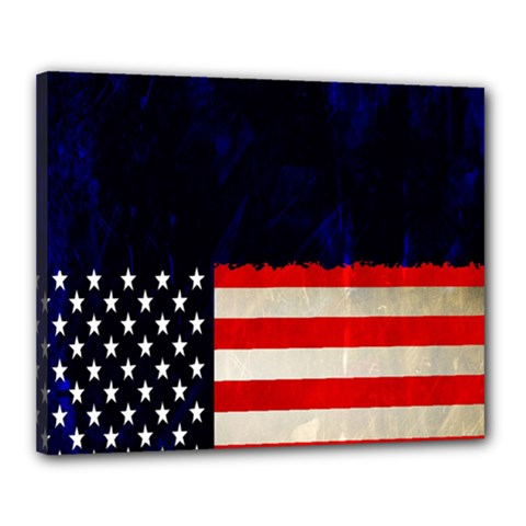 Grunge American Flag Background Canvas 20  X 16