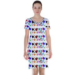 A Creative Colorful Background With Hearts Short Sleeve Nightdress by Nexatart