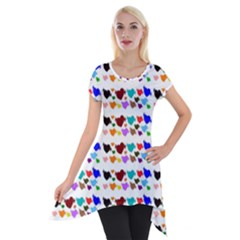 A Creative Colorful Background With Hearts Short Sleeve Side Drop Tunic