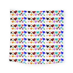 A Creative Colorful Background With Hearts Square Tapestry (small) by Nexatart