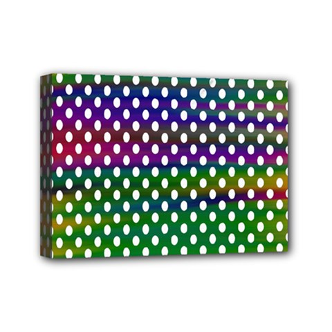 Digital Polka Dots Patterned Background Mini Canvas 7  X 5