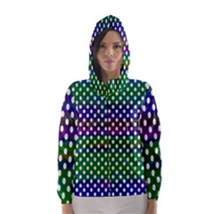 Digital Polka Dots Patterned Background Hooded Wind Breaker (women)