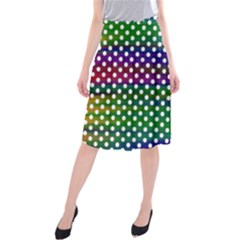 Digital Polka Dots Patterned Background Midi Beach Skirt by Nexatart