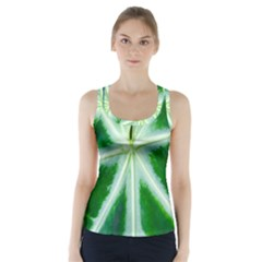 Green Leaf Macro Detail Racer Back Sports Top