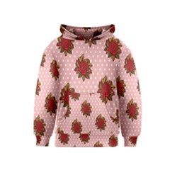Pink Polka Dot Background With Red Roses Kids  Pullover Hoodie by Nexatart
