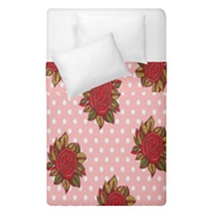 Pink Polka Dot Background With Red Roses Duvet Cover Double Side (single Size) by Nexatart