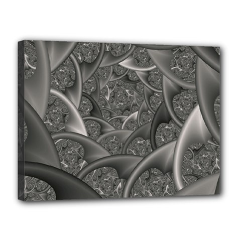 Fractal Black Ribbon Spirals Canvas 16  X 12
