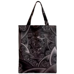 Fractal Black Ribbon Spirals Zipper Classic Tote Bag