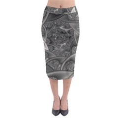 Fractal Black Ribbon Spirals Midi Pencil Skirt by Nexatart