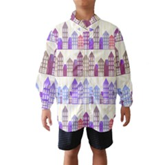 Houses City Pattern Wind Breaker (kids) by Nexatart