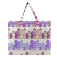 Houses City Pattern Zipper Large Tote Bag