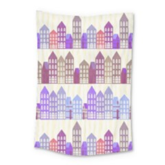 Houses City Pattern Small Tapestry by Nexatart