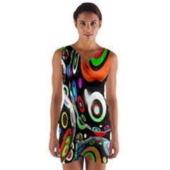 Background Balls Circles Wrap Front Bodycon Dress