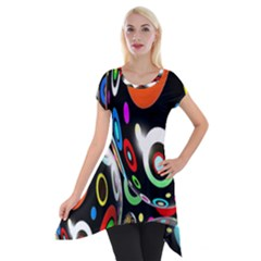 Background Balls Circles Short Sleeve Side Drop Tunic by Nexatart