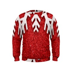 Macro Photo Of Snowflake On Red Glittery Paper Kids  Sweatshirt