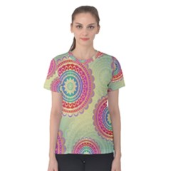 Abstract Geometric Wheels Pattern Women s Cotton Tee by LovelyDesigns4U