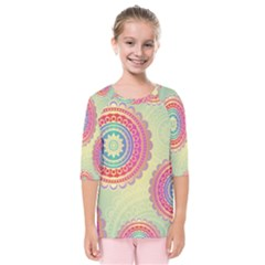Abstract Geometric Wheels Pattern Kids  Quarter Sleeve Raglan Tee