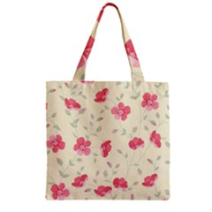 Seamless Flower Pattern Zipper Grocery Tote Bag by TastefulDesigns
