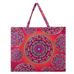 Pretty Floral Geometric Pattern Zipper Large Tote Bag by LovelyDesigns4U