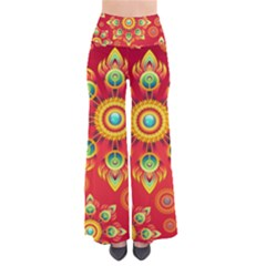 Red And Orange Floral Geometric Pattern Pants