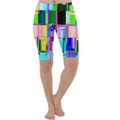 Glitch Art Abstract Cropped Leggings