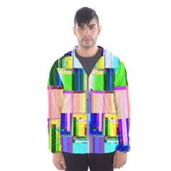 Glitch Art Abstract Hooded Wind Breaker (men)