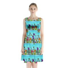Colourful Street A Completely Seamless Tile Able Design Sleeveless Chiffon Waist Tie Dress by Nexatart