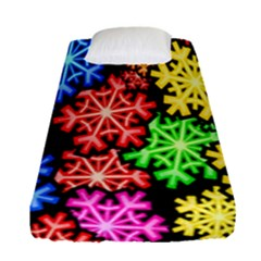 Colourful Snowflake Wallpaper Pattern Fitted Sheet (single Size)
