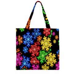 Colourful Snowflake Wallpaper Pattern Zipper Grocery Tote Bag by Nexatart
