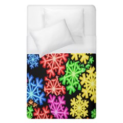 Colourful Snowflake Wallpaper Pattern Duvet Cover (single Size)