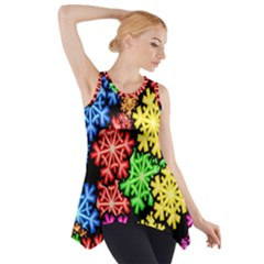 Colourful Snowflake Wallpaper Pattern Side Drop Tank Tunic by Nexatart