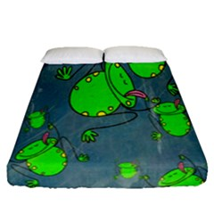 Cartoon Grunge Frog Wallpaper Background Fitted Sheet (queen Size) by Nexatart