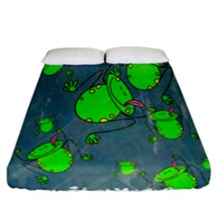 Cartoon Grunge Frog Wallpaper Background Fitted Sheet (california King Size) by Nexatart