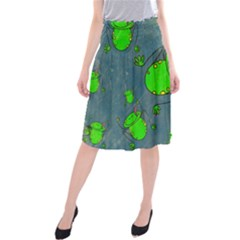 Cartoon Grunge Frog Wallpaper Background Midi Beach Skirt