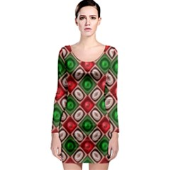Gem Texture A Completely Seamless Tile Able Background Design Long Sleeve Bodycon Dress by Nexatart